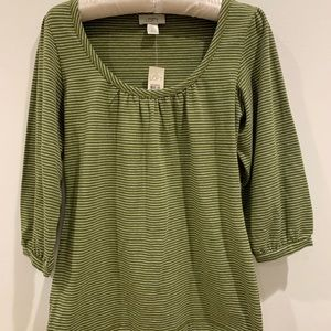 Ann Taylor Loft Scoop neck t shirt green striped S